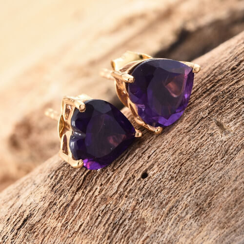 Amethyst (Hrt) Stud Earrings (with Push Back) in 14K Gold Overlay Sterling Silver 2.000 Ct.