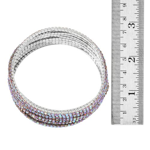 Set of 10 - Designer Inspired - Peacock Colour Crystal Stretchable Bracelet (Size 7.5) in Silver Tone