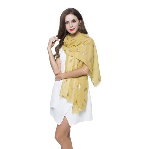 Golden Feathers Pattern Yellow Colour Scarf with Fringes (Size 180X70 Cm)