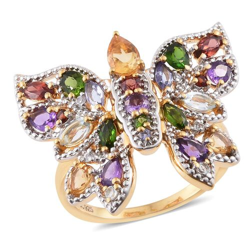 GP Citrine (Pear), Russian Diopside, Amethyst, Sky Blue Topaz, Mozambique Gaenet, Tanzanite, Kanchanaburi Blue Sapphire and Multi Gemstone Ring in 14K Gold Overlay Sterling Silver 2.250 Ct.