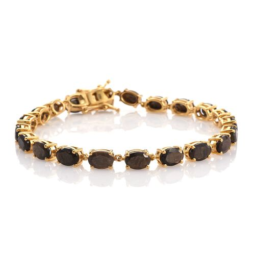 Natural Zawadi Golden Sheen Sapphire (Ovl) Tennis Bracelet (Size 7.5) in 14K Gold Overlay Sterling Silver 20.500 Ct.