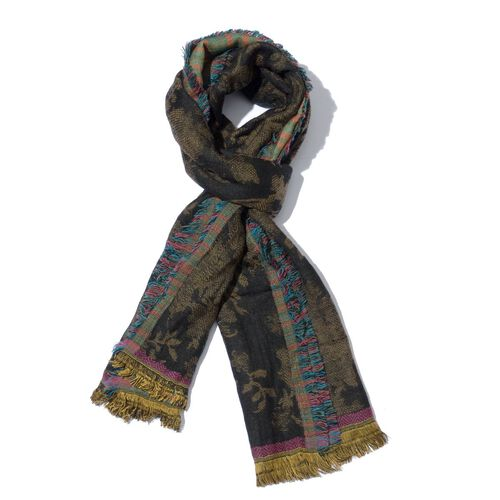 Floral Pattern Black Colour Scarf (Size 50x180 Cm)