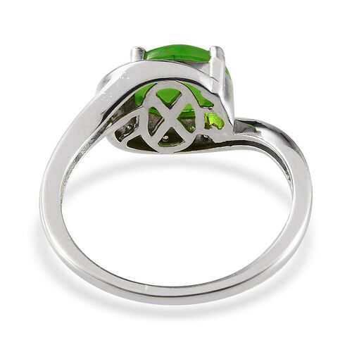 Green Ethiopian Opal (Ovl 1.25 Ct), Diamond Ring in Platinum Overlay Sterling Silver 1.290 Ct.