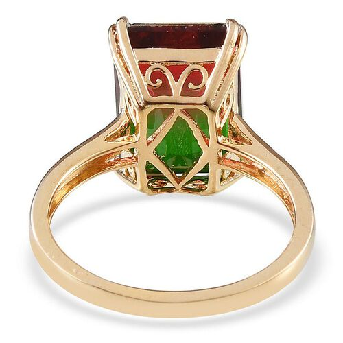 Tourmaline Colour Quartz (Oct 7.25 Ct), Diamond Ring in 14K Gold Overlay Sterling Silver 7.260 Ct.