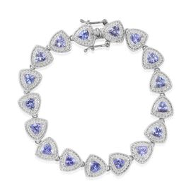 Tanzanite (Trl), Diamond Bracelet in Platinum Overlay Sterling Silver (Size 7.5) 7.500 Ct.