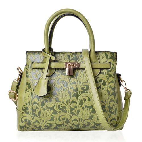 Chelsea Floral Embossed Mint Green Tote Bag with External Zipper Pocket and Adjustable Shoulder Strap (Size 29x25x10.5 Cm)