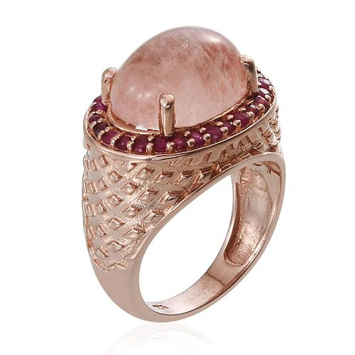 Marropino Morganite (Ovl 7.25 Ct), Burmese Ruby Ring in Rose Gold Overlay Sterling Silver 8.000 Ct.