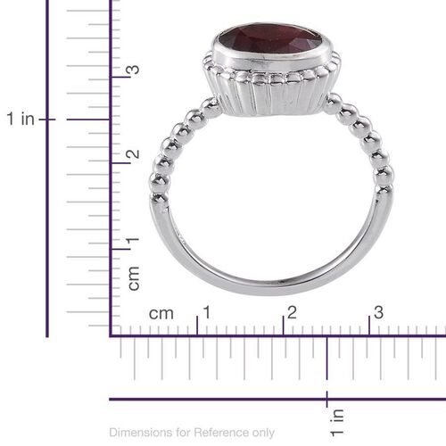 African Ruby (Ovl) Solitaire Ring in Platinum Overlay Sterling Silver 2.000 Ct.