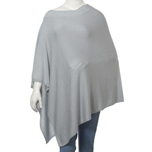 100% Merino Cashmere Wool Silver Colour Poncho (Size 85x85 Cm)