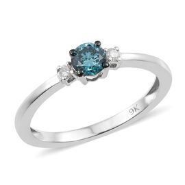 Blue and White Diamond (I3) Ring in 9K White Gold 0.40 Ct