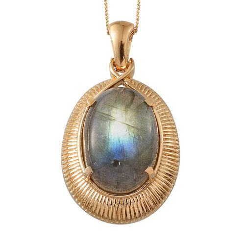 Labradorite (Ovl) Pendant With Chain in 14K Gold Overlay Sterling Silver 12.000 Ct.