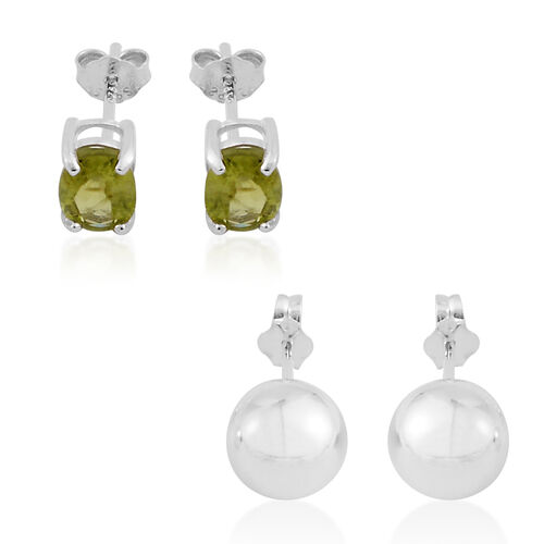 Set of 2 - Hebei Peridot and Ball Stud Earrings (with Push Back) in Sterling Silver 2.000 Ct.