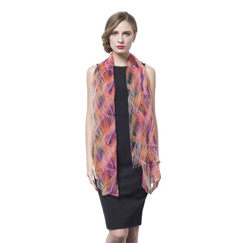 40% Mulberry Silk Pink, Orange and Multi Colour Wavy Stripes Pattern Scarf (Size 170X105 Cm)
