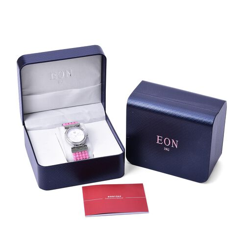 EON 1962 Swiss Movement Diamond Studded MOP Dial Watch with Simulated White Diamond in Silver Tone with Pink Jade Strap 52.360 Ct.