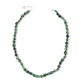 Limited One Time Deal- Ruby Zoisite Necklace (Size 18 with 2 inch Extender) in Rhodium Plated Sterling Silver 132.000 Ct.