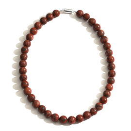 Rare Size Red Jasper (Rnd 12 mm) Necklace (Size 20) with Magnetic Clasp in Sterling Silver 500.000 Cts.