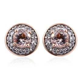 9K Rose Gold 1 Carat AA Marropino Morganite Halo Stud Earrings with Natural Cambodian Zircon (with Push Back)