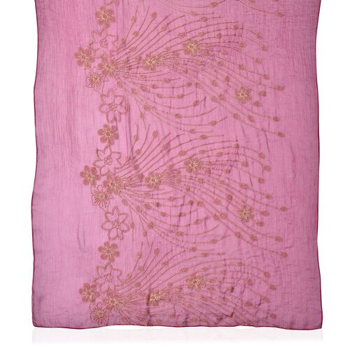 Golden Floral Embroidered Magenta Colour Scarf (Size 175X70 Cm)