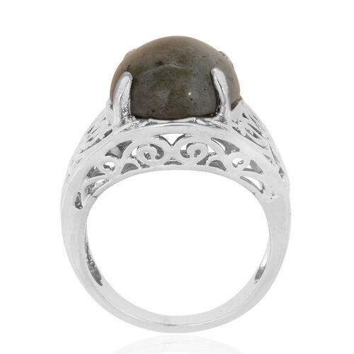 Labradorite (Ovl) Solitaire Ring in ION Plated Silver Bond 8.075 Ct.