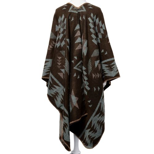 Designer Inspired Chocolate, Green and Pink Colour Geometric Pattern Over-Sized Poncho (Size 135x75 Cm)