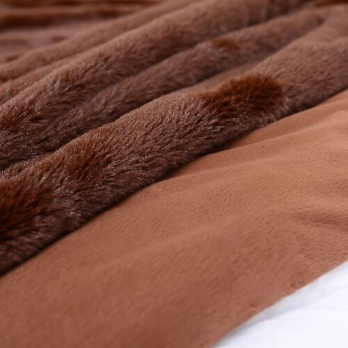 Faux Fur Chocolate Colour Blanket (Size 152x127 Cm)