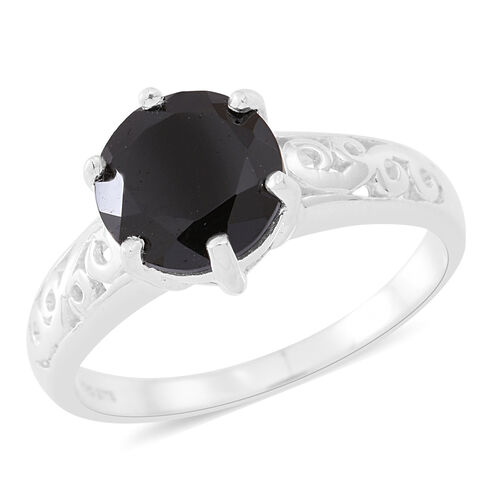 Boi Ploi Black Spinel (Rnd) Solitaire Ring in Sterling Silver 4.250 Ct.