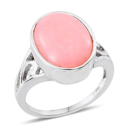 Peruvian Pink Opal (Ovl) Solitaire Ring in Platinum Overlay Sterling Silver 8.250 Ct.