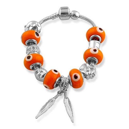 Glass Beads Bracelet (Size 7.5) in Silver Tone