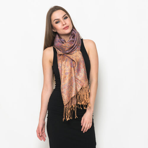 100% Superfine Silk Red and Multi Colour Paisley Pattern Golden Colour Jacquard Jamawar Scarf with Fringes (Size 180x70 Cm) (Weight 125 - 140 Grams)