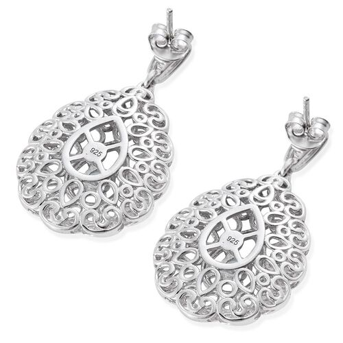 Designer Inspired J Francis - Platinum Overlay Sterling Silver (Rnd) Earrings (with Push Back) Made with SWAROVSKI ZIRCONIA, Silver wt 9.00 Gms.