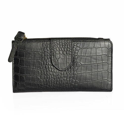Summer New Collection Genuine Leather Black Colour Croc Embossed RFID Blocker Ladies Wallet with Buckle Flap (Size19x10.5x3 Cm)