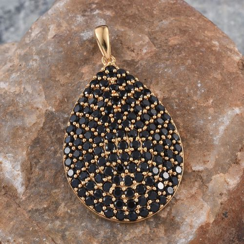 Boi Ploi Black Spinel Drop Cluster Silver Pendant in 14K Gold Overlay 7.500 Ct.
