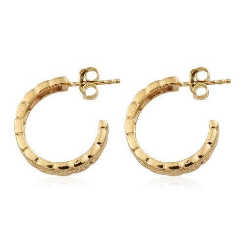 Designer Inspired - 14K Gold Overlay Sterling Silver J Hoop Earrings (with Push Back).Silver Wt 5.16 Gms