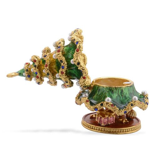 Multi Colour Austrian Crystal Studded Green and Red Enameled Christmas Tree Jewellery Box in Gold Tone