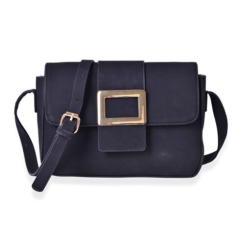 Dazzling Black Crossbody Bag with Adjustable Shoulder Strap (Size 24x17.5x7 Cm)