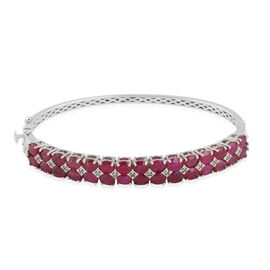 African Ruby (16.50 Ct),White Topaz Platinum Overlay Sterling Silver Bangle (Size 7.5)  16.600  Ct.