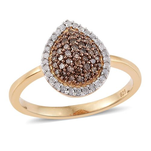 Natural Champagne Diamond (Rnd), White Diamond Ring in 14K Gold Overlay Sterling Silver 0.500 Ct.
