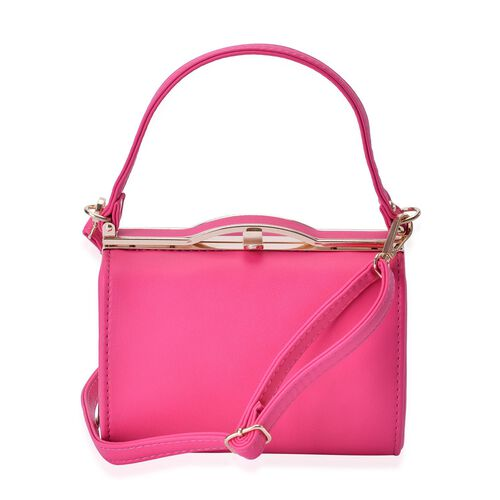 Fuchsia Colour Clutch Bag With Adjustable and Removable Shoulder Strap (Size 18x12.5x10 Cm)
