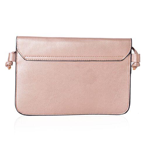 Rose Gold Colour Crossbody Bag with Shoulder Strap (Size 25x17 Cm)