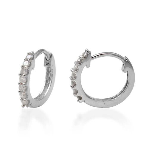 9K White Gold SGL Certified Diamond (Rnd) (I3/G-H) Hoop Earrings (with Clasp) 0.200 Ct.