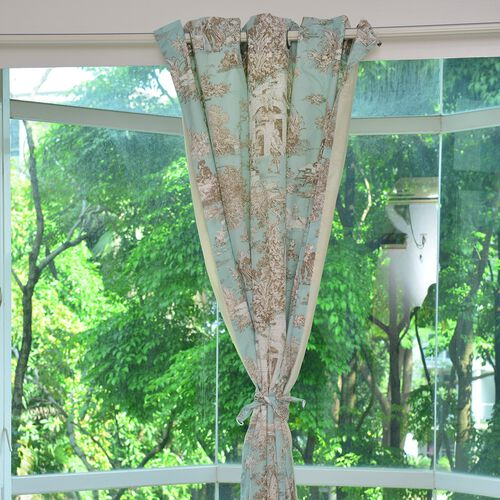 Green, Cream and Multi Colour Ancient Europion Village Printed Double Side Curtain (Size 230X167 Cm)