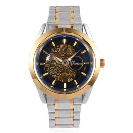 GENOA Automatic Skeleton Navy and Golden Chronograph Dial Water Resistant Watch in Silver Tone with Chain Strap
