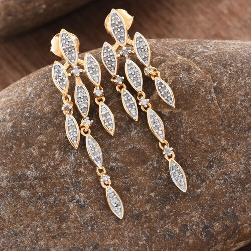 Limited Edition - Designer Inspired - Diamond (Rnd) Earrings (with Push Back) in 14K Gold Overlay Sterling Silver 0.505 Ct.