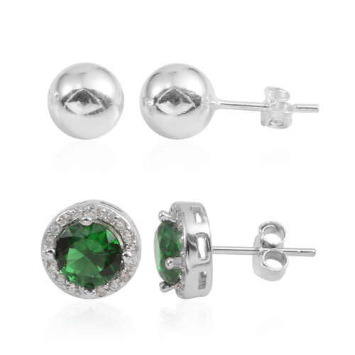 JCK Vegas Collection Set of 2 - AAA Simulated Emerald (Rnd), Simulated Diamond Stud Earrings (with Push Back) in Sterling Silver