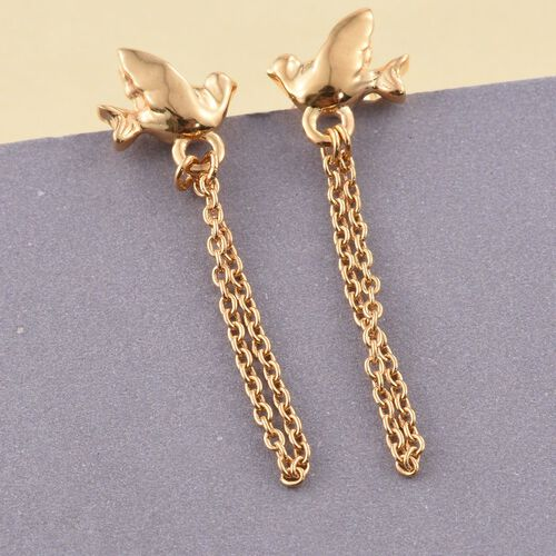 Flying Bird Silver Earrings (with Push Back) in Gold Overlay, Silver Wt. 1.97 Gms
