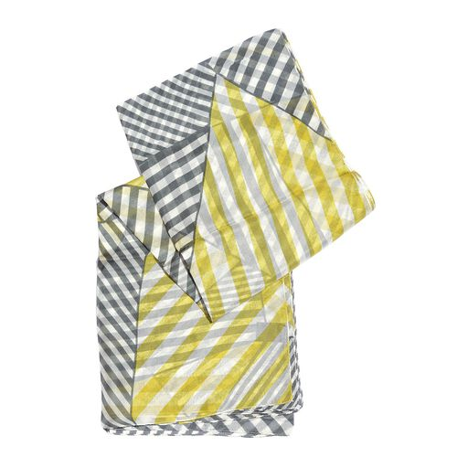 100% Mulberry Silk Yellow, Black and White Colour Handscreen Stripes Printed Scarf (Size 200X170 Cm)