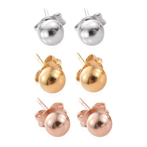 Set of 3 - Platinum, Rose and Yellow Gold Overlay Sterling Silver Ball Stud Earrings (with Push Back)