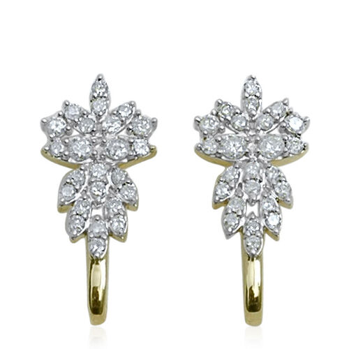 9K Y Gold SGL Certified Diamond (Rnd) (I3/ G-H) Earrings (with Push Back) 1.000 Ct.