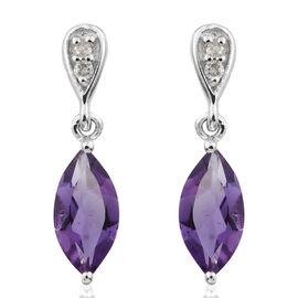 9K White Gold AA Amethyst (Mrq), Diamond Earrings (with Push Back) 1.350 Ct.