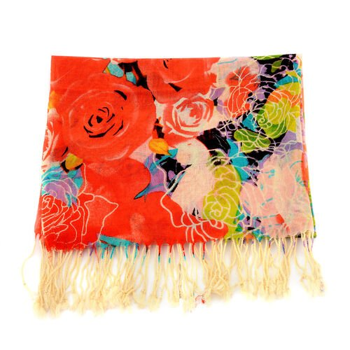 100% Wool Red Colour Floral Pattern Scarf (Size 170x67 Cm)